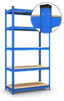 Стеллаж Бюджет (1800х1200х500) крашенный (СИНИЙ), на зацепах, 5 полок, ДСП, 150 кг/полка