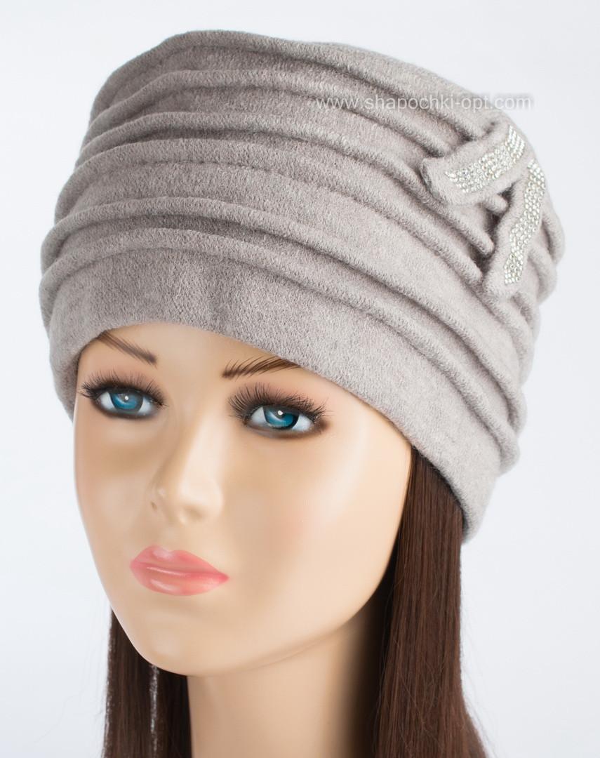 Теплая женская шапка Kartazon-21 цвет светло-серый