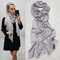 Женский палантин шарф брендовый реплика Louis Vuitton 65% шелк 35% кашемир размер 190×0.70 см цвет серый, фото 1