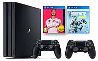 Игровая приставка Sony PlayStation 4 Pro 1 TB Black + FIFA20 + Fortnite+ DualShock 4