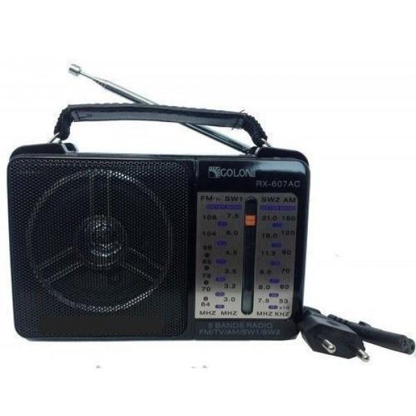 Акустическая система Golon радиоприемник аккумуляторный FM радио колонка с фонариком и USB выходом Чёрный (RX-607)