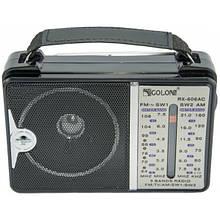 Рдиоприемник Golon аккумуляторный FM радио колонка с фонариком и USB выходом Чёрный (RX-606)