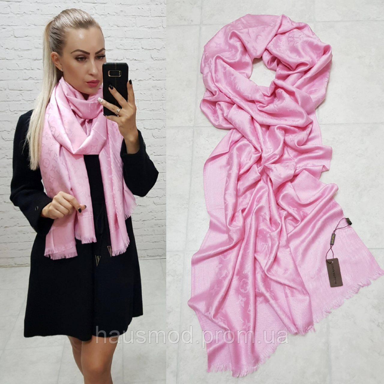 Женский палантин шарф брендовый реплика Louis Vuitton 65% шелк 35% кашемир размер 190×0.70 см цвет розовый
