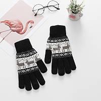 Зимние теплые перчатки унисекс с орнаментом олени черные опт, фото 1