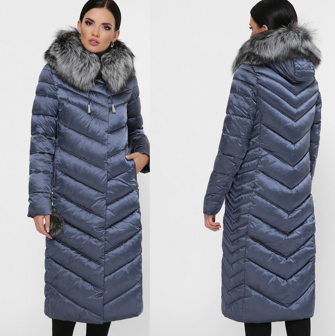 Зимнее длинное женское пальто-куртка с натуральным мехом