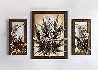 Триптих картин из кожи в золотом
