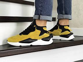 Мужские кроссовки эко замша желтые, фото 3
