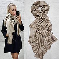 Женский палантин шарф брендовый реплика Louis Vuitton 65% шелк 35% кашемир размер 190×0.70 см цвет мокко, фото 1