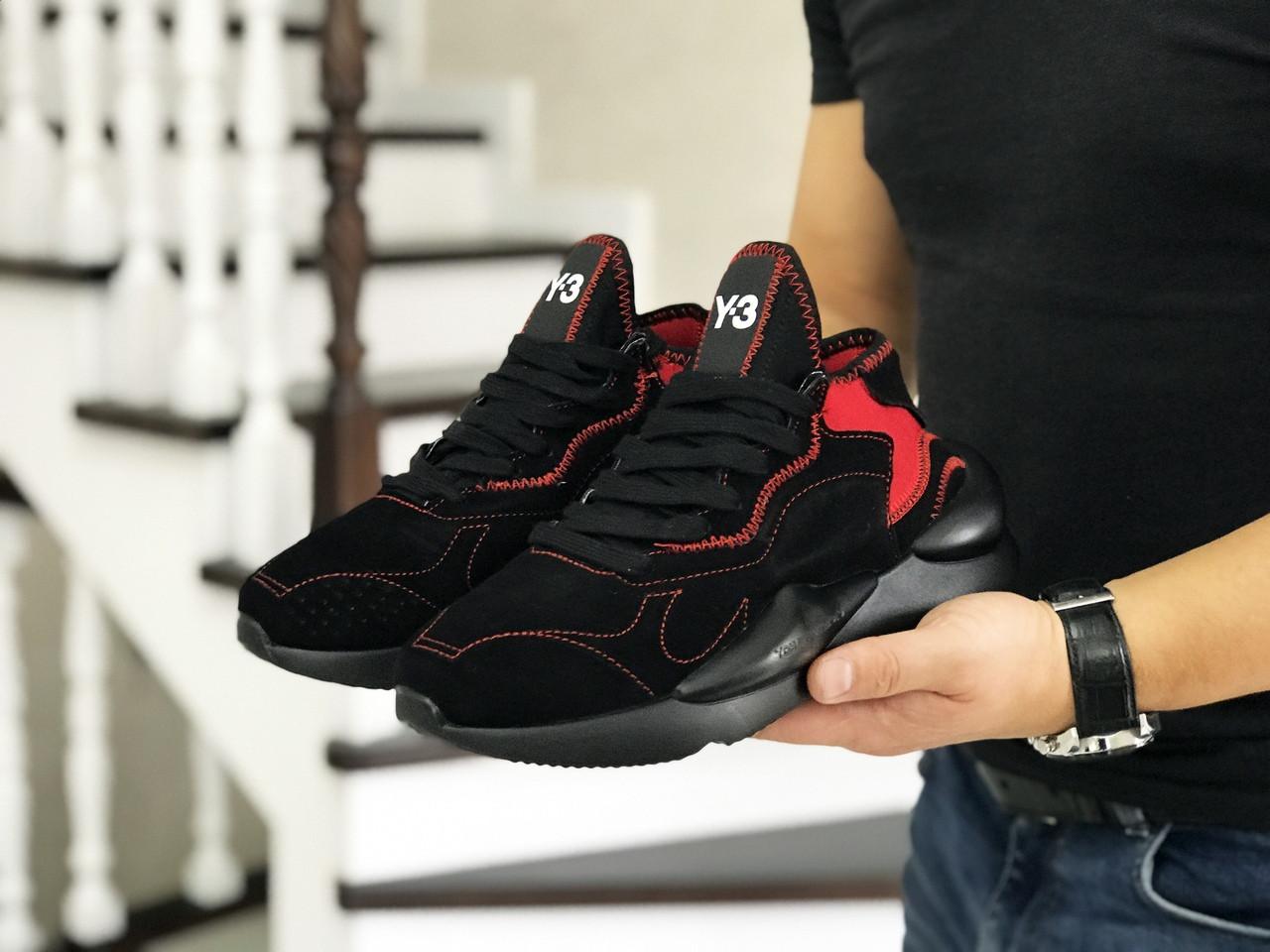Мужские кроссовки эко замша черные с красным
