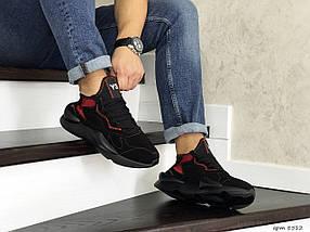 Мужские кроссовки эко замша черные с красным, фото 2