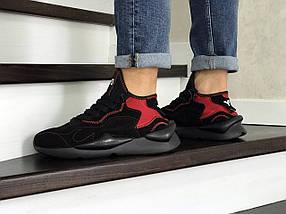 Чоловічі кросівки замша еко чорні з червоним, фото 3