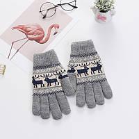 Зимние теплые перчатки унисекс с орнаментом олени серые опт, фото 1