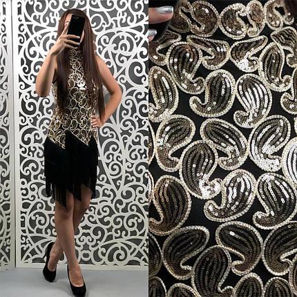 """Изысканное платье с отделкой из пайетоки ткань """"Стрейч сетка+Люрекс+Бахрома"""" 44 размер норма, фото 2"""
