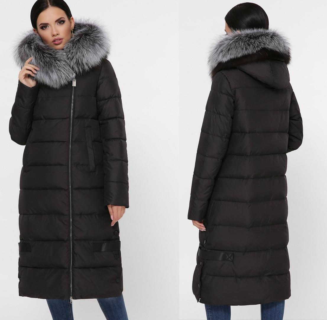 Женское зимнее длинное пальто-куртка с натуральным мехом, черного цвета