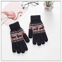 Зимние теплые перчатки унисекс с орнаментом олени синие, фото 1