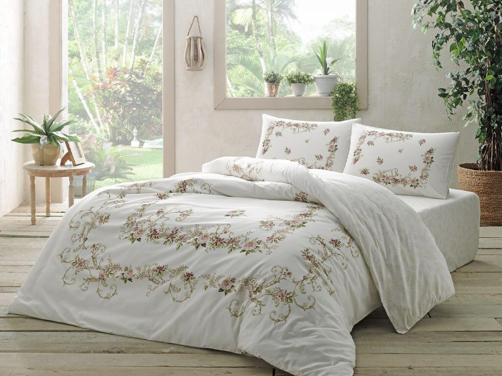 Двуспальное евро постельное белье TAC Bellarose Pink Ранфорс