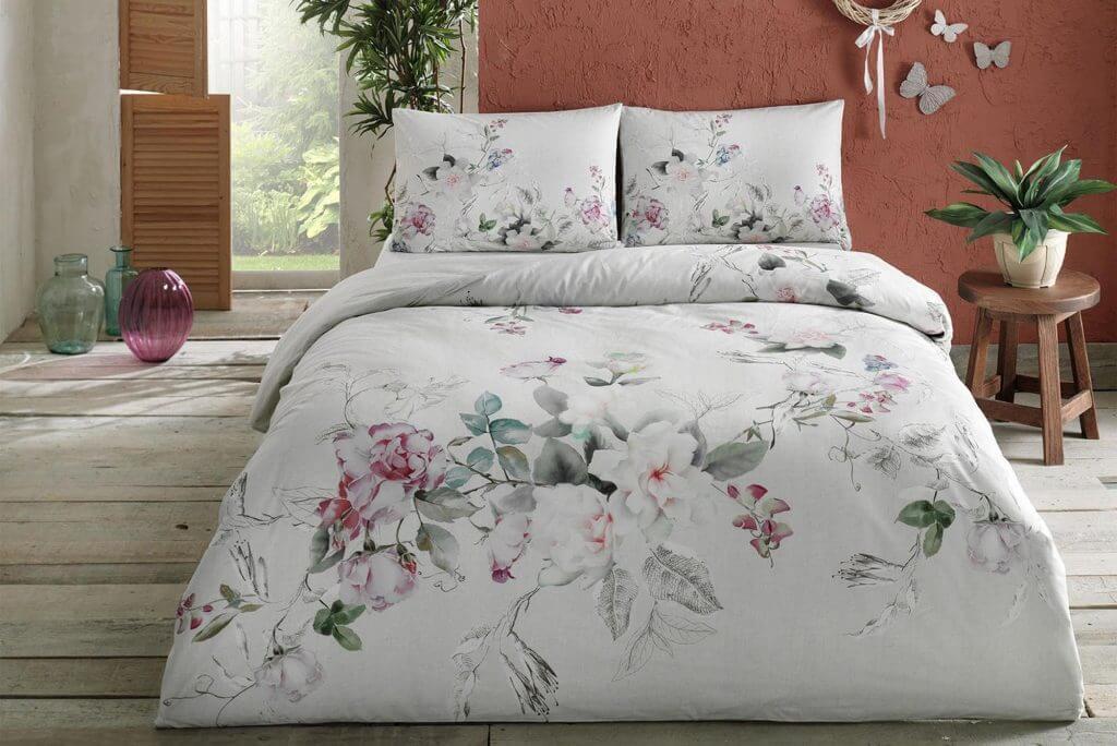Двуспальное евро постельное белье TAC Lucina Pink Ранфорс