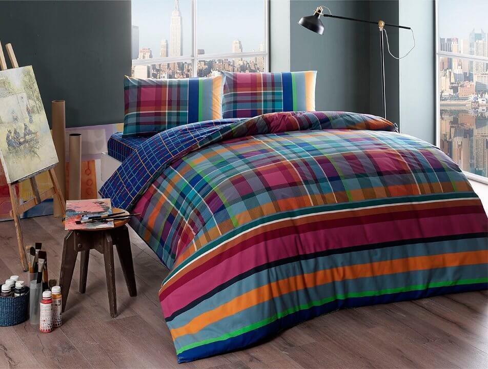 Двуспальное евро постельное белье TAC Harlie Ранфорс / простынь на резинке
