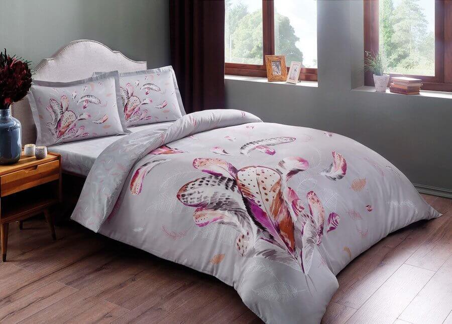 Двуспальное евро постельное белье TAC Ratna Grey Сатин