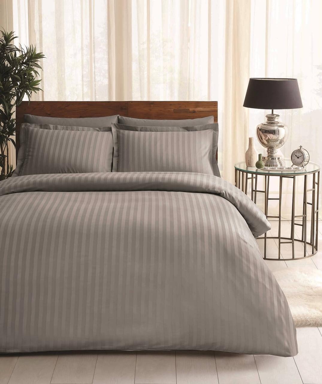Двуспальное евро постельное белье TAC Place Antracit Сатин-Жаккард