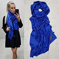 Женский палантин шарф реплика Louis Vuitton65% шелк 35% кашемир размер 190×0.70 см цвет синий-электрик, фото 1