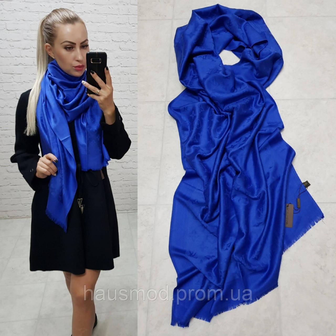 Женский палантин шарф реплика Louis Vuitton65% шелк 35% кашемир размер 190×0.70 см цвет синий-электрик