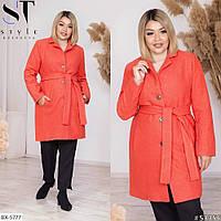 Пальто женское  с поясом батал  в расцветках 38176, фото 1
