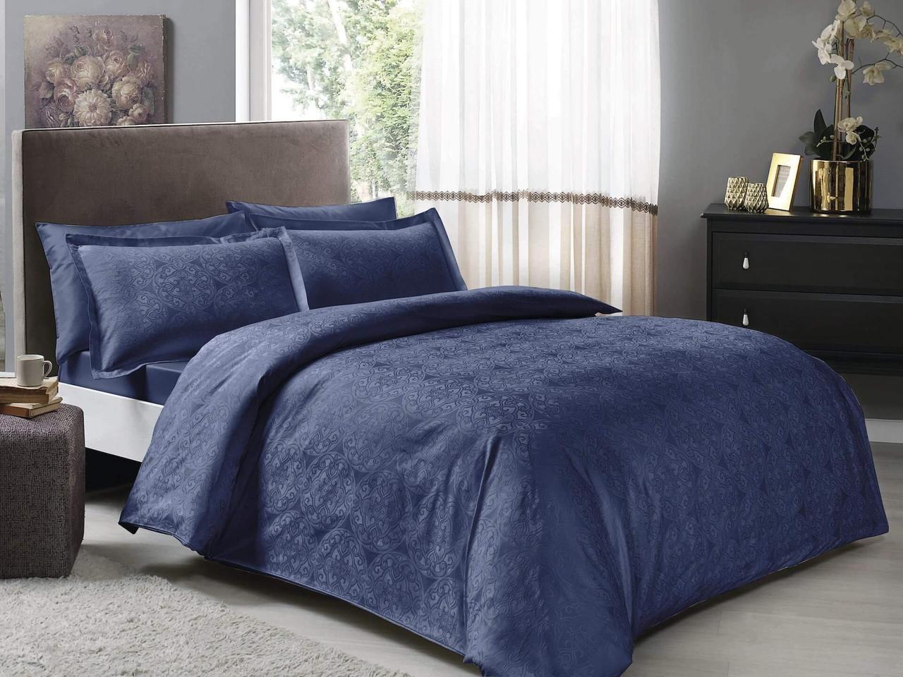 Двуспальное евро постельное белье TAC Nodus Blue Сатин-Жаккард