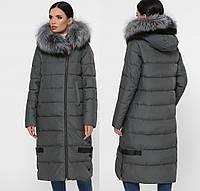 Женское зимнее длинное пальто-куртка с натуральным мехом