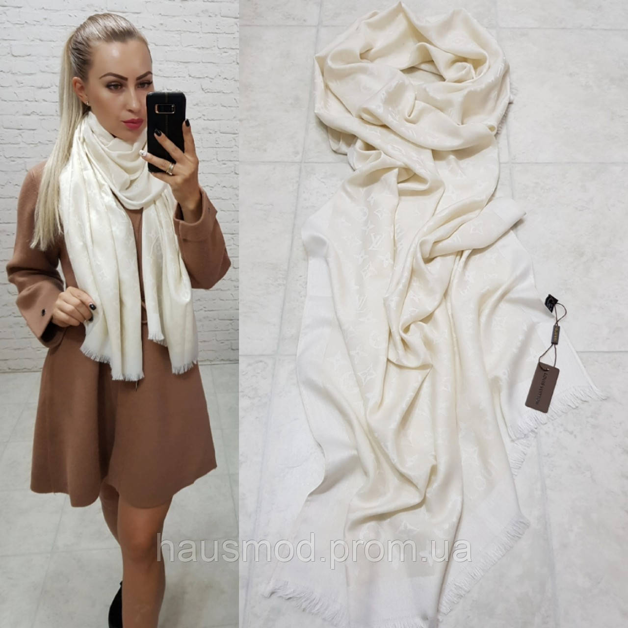Женский палантин шарф брендовый репликаLouis Vuitton65% шелк 35% кашемир размер 190×0.70 см цвет молочный