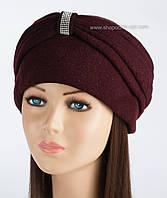 Теплая женская шапка-чалма Kartazon-18 марсала