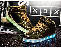Gold High Step, Золотые высокие светящиеся кроссовки LED (USB подзарядка), размер 30,31,33 (LK 1012)