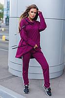 Костюм спортивный женский из двунитки с воротником хомут и карманами (К28962), фото 1