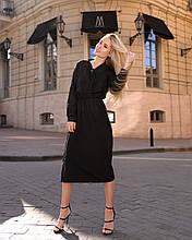 Класичне плаття стильне, рукав креп-смужка на манжеті