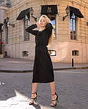 Класичне плаття стильне, рукав креп-смужка на манжеті, фото 2