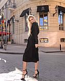 Класичне плаття стильне, рукав креп-смужка на манжеті, фото 3