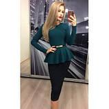 Женский костюм: кофта-баска + юбка-миди, с 48 по 52рр, 7 расцветок, без пояса!, фото 4