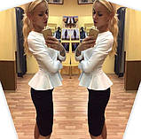 Женский костюм: кофта-баска + юбка-миди, с 48 по 52рр, 7 расцветок, без пояса!, фото 2
