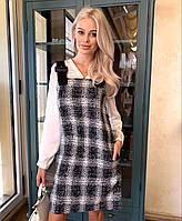 """Платье-сарафан женское шерстяное в клетку, размеры 42-46 """"MICHEL"""" купить недорого от прямого поставщика, фото 1"""