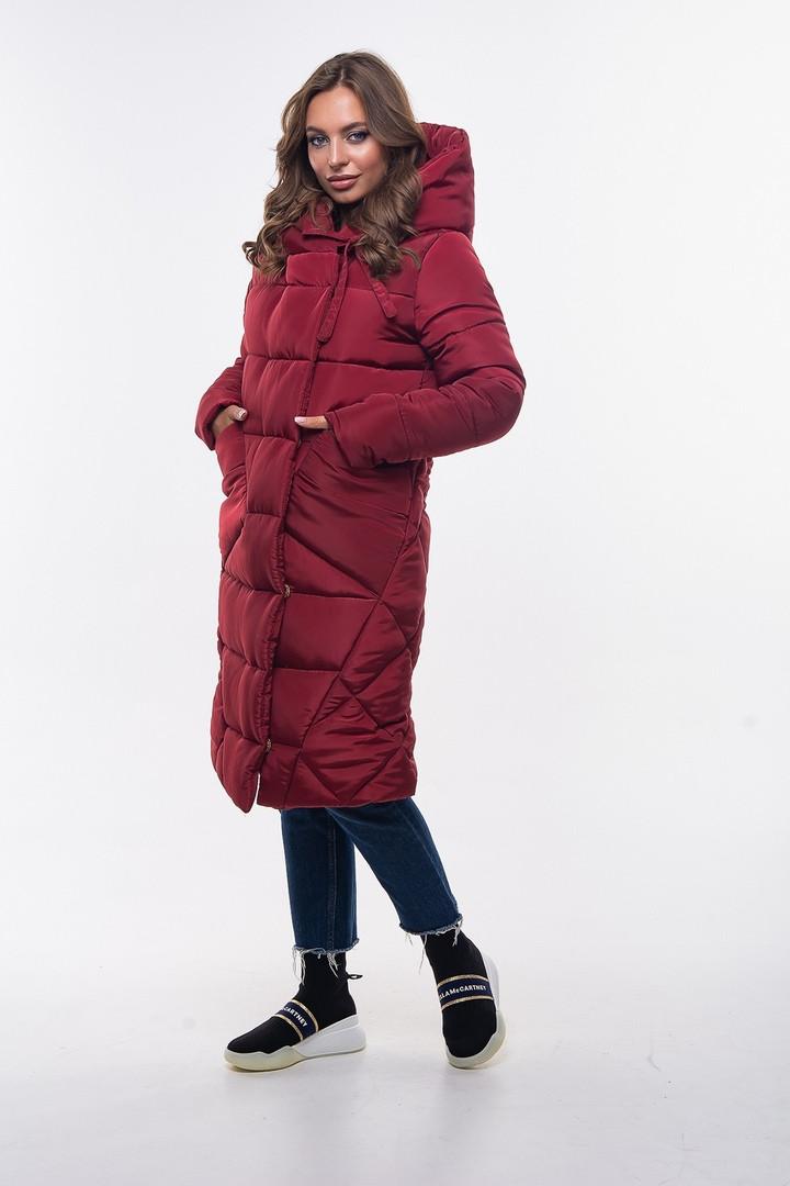 Женская куртка-одеяло с капюшоном, бордового цвета