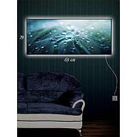 Световая картина настенная с Led-подсветкой IdeaX Капли дождя 29х69 см