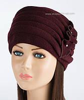 Теплая женская шапка Kartazon-09 марсала
