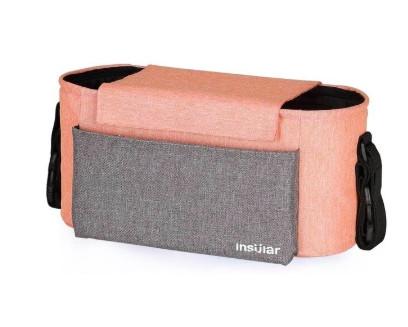 Универсальная сумка для коляски (оранжевая с серыми вставками) (31х14х16см)