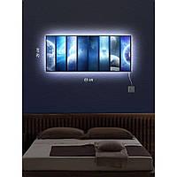 Световая картина настенная с Led-подсветкой IdeaX Космическое путешествие 29х69 см
