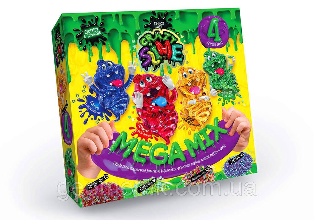 Набір Crazy Slime 4в1 Mega Mix світло. в темряві (коробка) арт. SLM-03-01 зелений (Данко-Тойс)