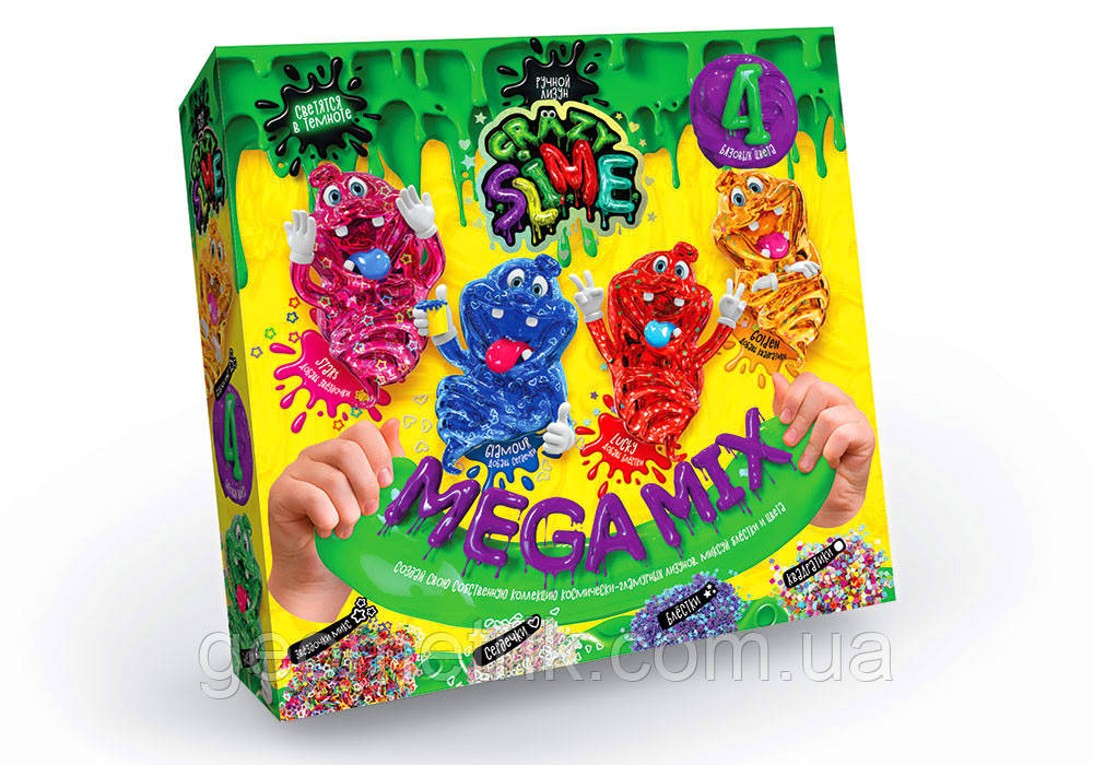 Набор Crazy Slime 4в1 Mega Mix свет. в темноте (коробка) арт. SLM-03-02 фиолетовый (Данко-Тойс)