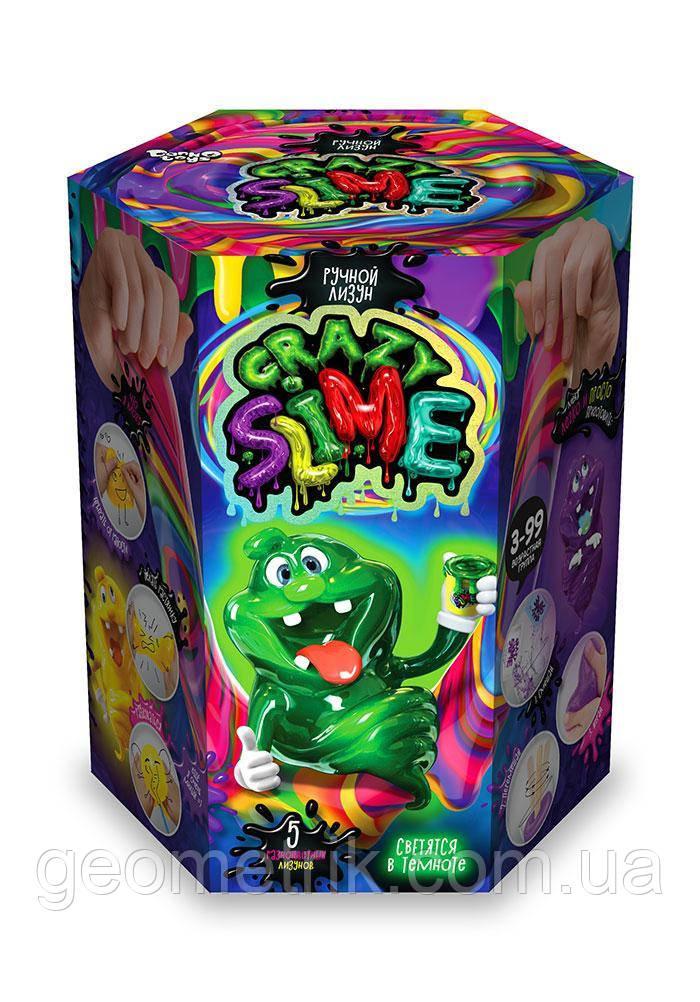 Набор Crazy Slime 5в1 светящиеся в темноте (шестиугольная призма) арт. SLM-01-01 (Данко-Тойс)