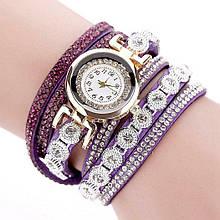 Часы браслетом Duoya браслет в стразах фиолетовые