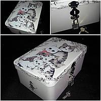 Металлическая коробка на замочке с ключиками для подарков, 7х17.5х12.5 см., 130 гр.