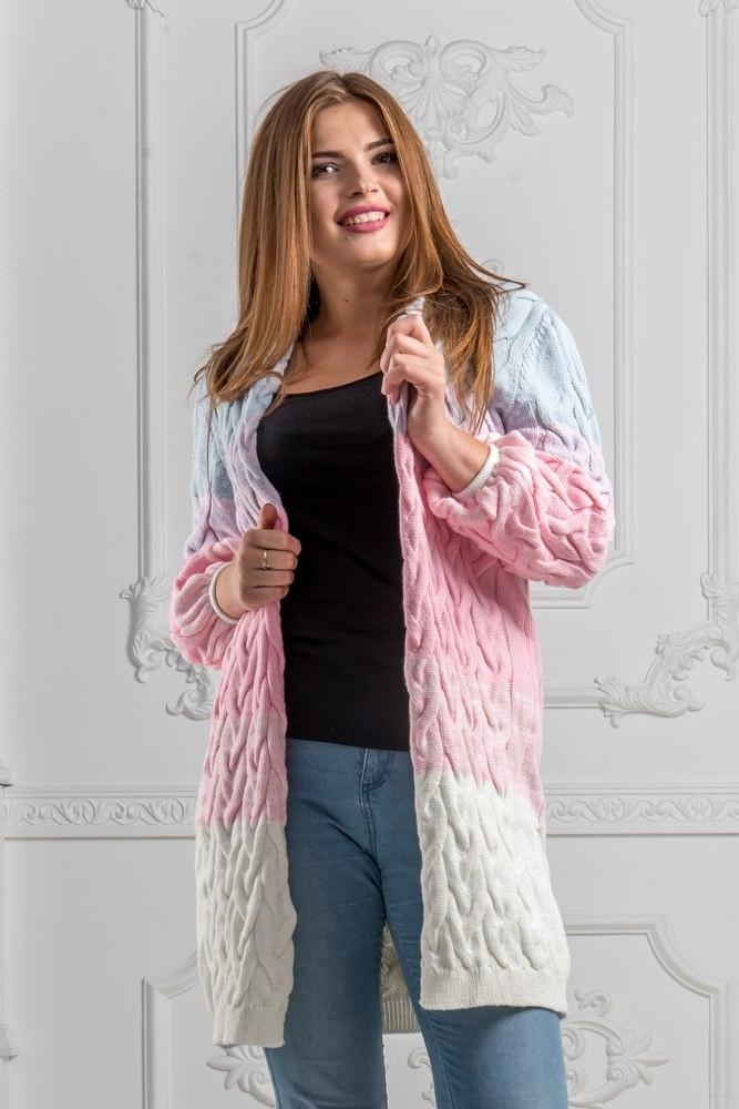 Очень красивый и теплый женский вязаный кардиган 48-54р.(4расцв)